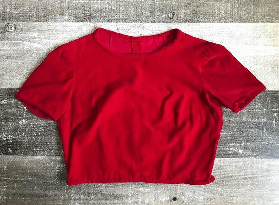 Vintage 1940's 1950's Red Velvet Blouse Top Croppe