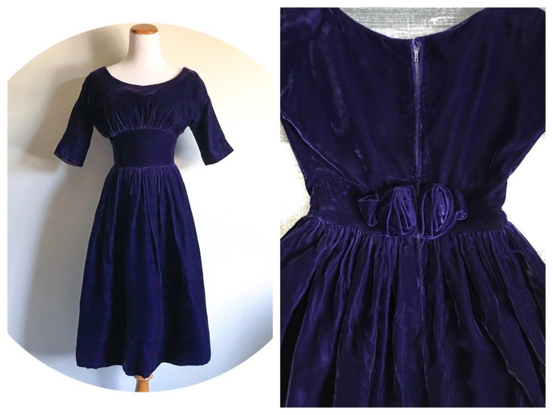 8ac5979da Gorgeous 1950s Purple Velvet Dress Dark Violet Indigo Grape | Etsy