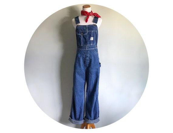 40 RARE Vintage années des années Vintage 1930 combinaisons moyenne unisexe bleu Jean les petites femmes sanforisé Jean salopette bretelles hommes en détresse taille 30 X 31 e5ca83