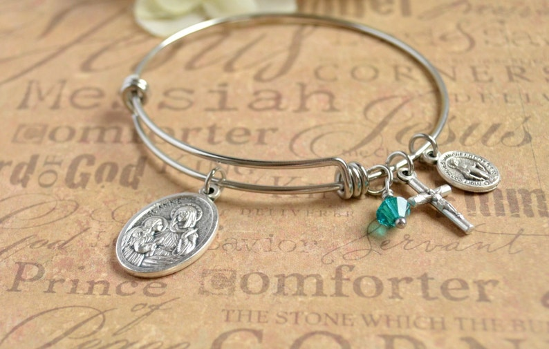 Ann Bangle Bracelet St Patron Saint Anne Confirmation Gift