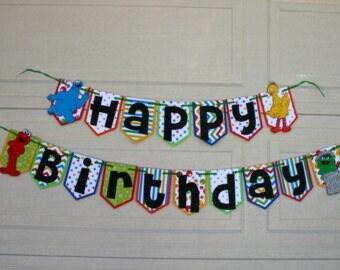 Sesame Street Birthday Banner, Sesame Street Birthday Party, Elmo Birthday Party