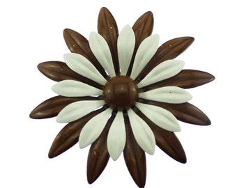 Large Enamel Flower Brooch, Vintage Brown Enamel Flower Brooch, Brown Flower Pin