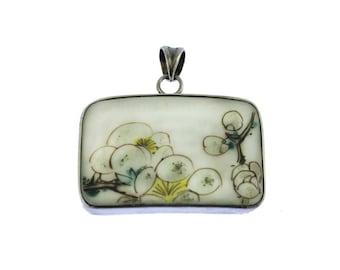 Sterling Silver and Porcelain Flower Pendant, Large Flower Pendant