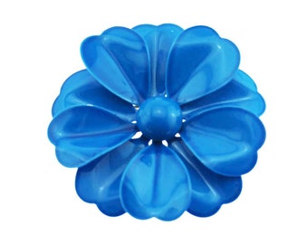 Large Enamel Flower Brooch, Vintage Blue Enamel Flower Brooch, Enamel Blue Flower Brooch, Mod Flower Brooch
