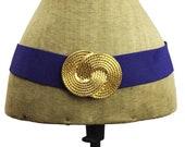Nan Lewis Purple Cinch Belt with Gold Circle Buckle, Purple and Gold Belt, Purple and Gold Cinch Belt, Purple Belt