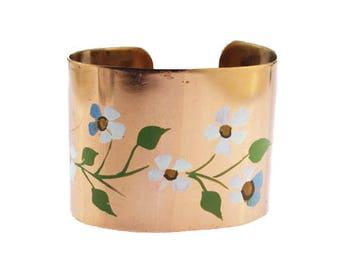 Copper Flower Cuff Bracelet, Painted Copper Cuff Bracelet, Painted Cuff Bracelet, Wide Copper Cuff, Copper Flower Bracelet