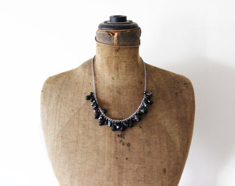 Black Bead Necklace - Black Dangle Necklace - Silver Chain Necklace with Black Beads - Black and Silver Necklace