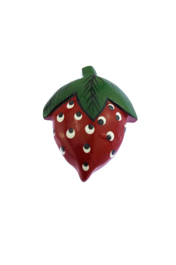 Wood Strawberry Brooch, Wood Strawberry Pin, Woode