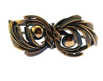 Vintage Copper Clamper Bracelet, Copper Leaf Bracelet, Chunky Copper Bracelet, Wide Copper Bracelet