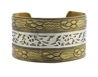 Wide Brass Cuff Bracelet, Mixed Metal Cuff Bracelet, Brass Flower Cuff Bracelet