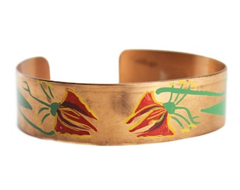 Vintage Copper Cuff Bracelet, Painted Copper Cuff Bracelet, Painted Cuff Bracelet, Wide Copper Cuff, Copper Flower Bracelet