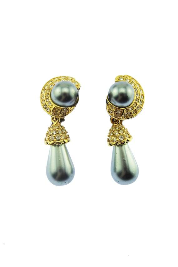 Joan Rivers Black Pearl Earrings, Rhinestone Dangl
