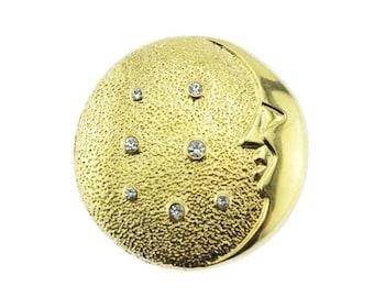 Large Gold Moon Brooch, Rhinestone Moon and Stars Brooch, Gold Celestial Brooch, Gold Circle Brooch