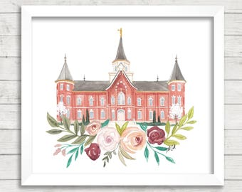 Provo City Center, Utah LDS Temple Watercolor Print