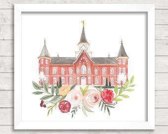Provo City Center, UT LDS Temple Watercolor Print, LDS Artwork