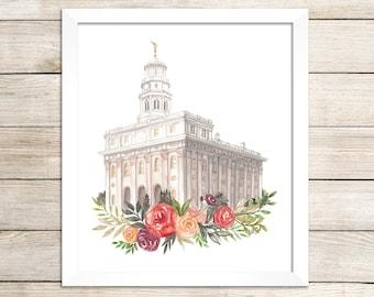 Nauvoo, Illinois LDS Temple Watercolor Print