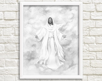 Jesus Christ Watercolor Painting in Black and White