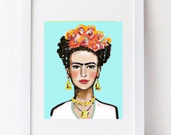 Frida Print, aqua, roses, orange, various sizes, paper or canvas