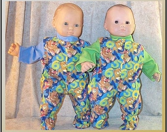 Doll Clothes Baby Made 2 Fit American Girl 15 Inch Boy Twin Pajamas Cat Pink