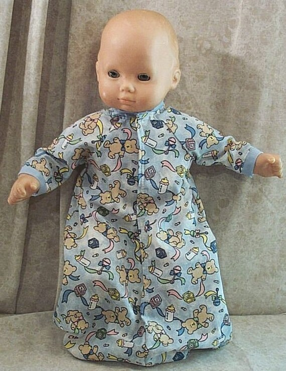 white and blue sleeper fits American Girl Bitty Baby handmade and new