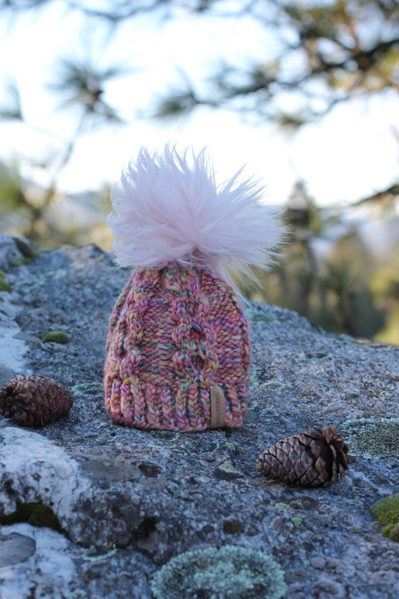 Baby Knit Hat with Faux Fur Pom Size 0-12 months