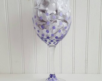 Wine glasses hand pained ombre wine glass confetti polka dots painted on wine glass purple glasses custom painted wine glass wedding glasses