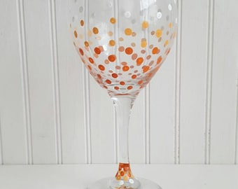 Wine glasses hand pained ombre wine glass confetti polka dots painted on wine glass orange glasses custom painted wine glass wedding glasses