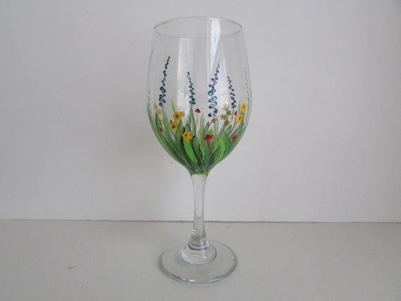 Hand Painted Wine Glass With Flowers Spring Glass Summer Wine Etsy
