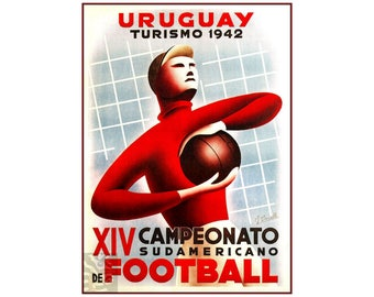 Uruguay 1942 Football Soccer World Cup Games Vintage Poster Print Sports Free Us Post Low EU - CA Post Buy 3 Get 1 Free