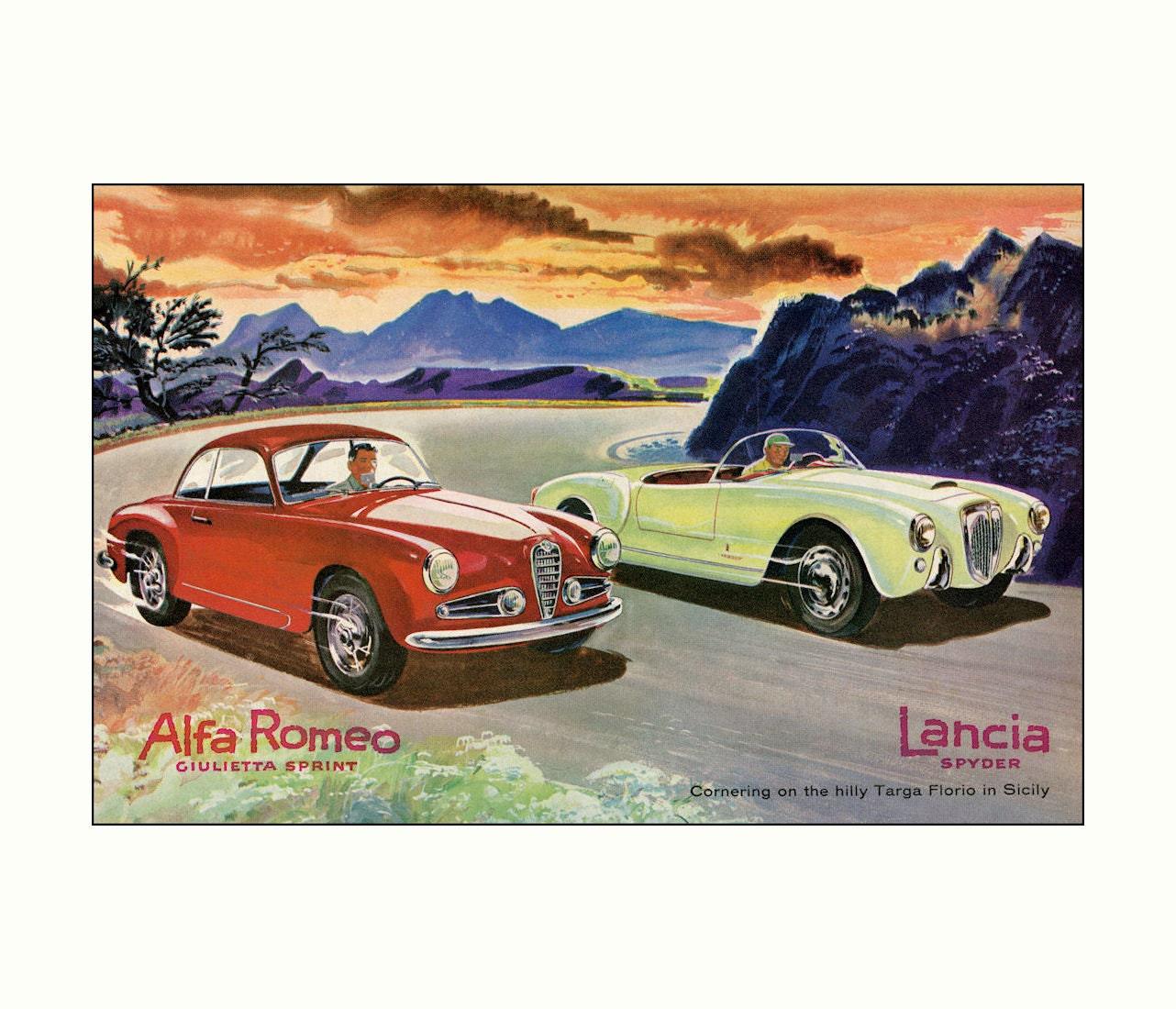 Alfa Romeo & Lancia Targa Florio Sicily Italy Vintage