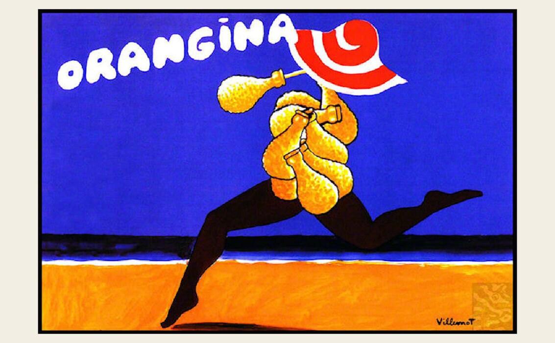 Orangina Getränk Strand Tanz Vintage Poster Druck Retro-Stil