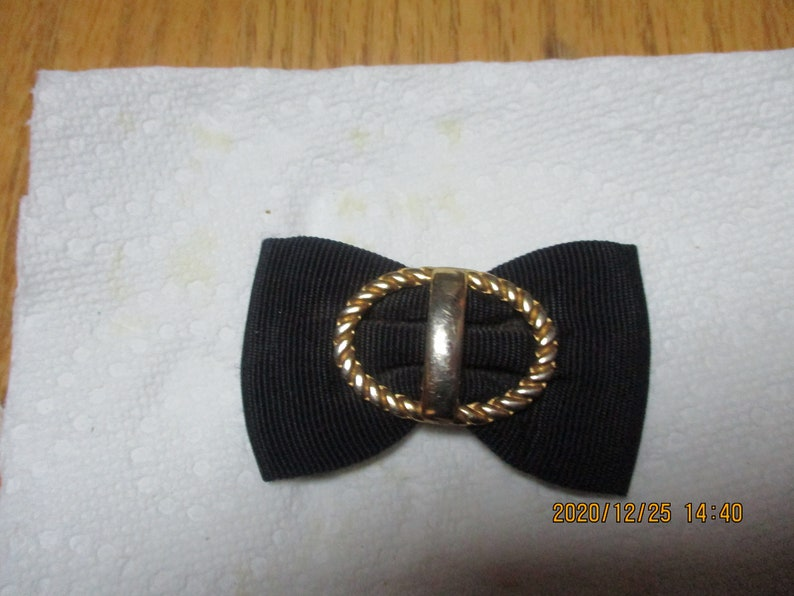 Black Grosgrain Ribbon Shoe Clips for Flats or Pumps with Gold-tone Twisted Metal Decoration Dressy Shoe Clips or Add Clips for Hair Bows