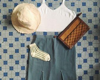 Vintage Japanese skirt in Tiffany blue color