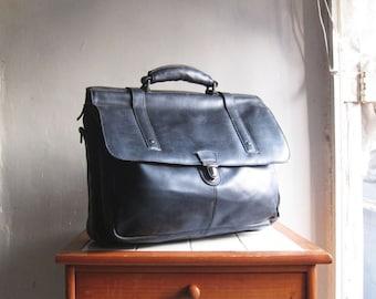Vintage black leather satchel messenger bag briefcase