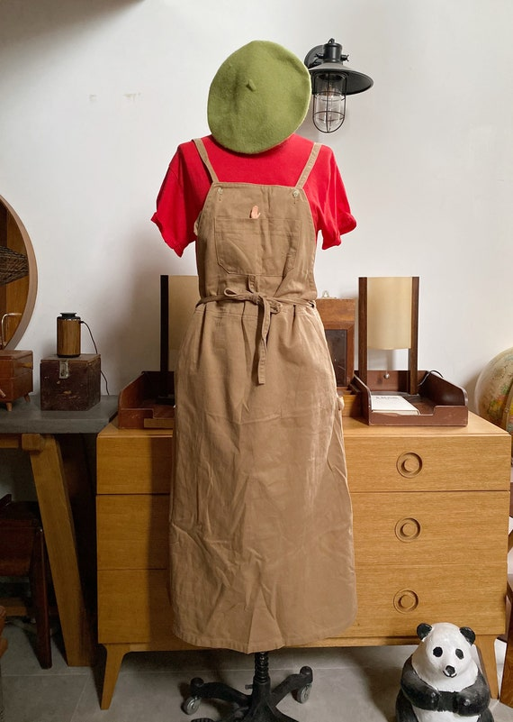Vintage 70s Japan brown overalls dress