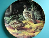 Lovely larger vintage Finland porcelain plate with printed Hazel-hens in wood motive after original by Ferdinand von Wright, limited edition