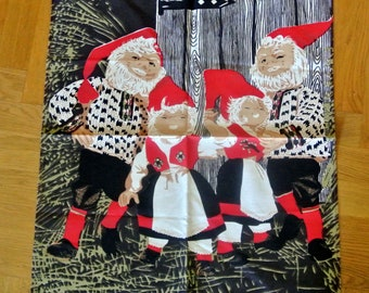 Vintage 1960s unused linenprepared cotton design Santa Claus motive wallhanging in strong colors and with red wood hanger