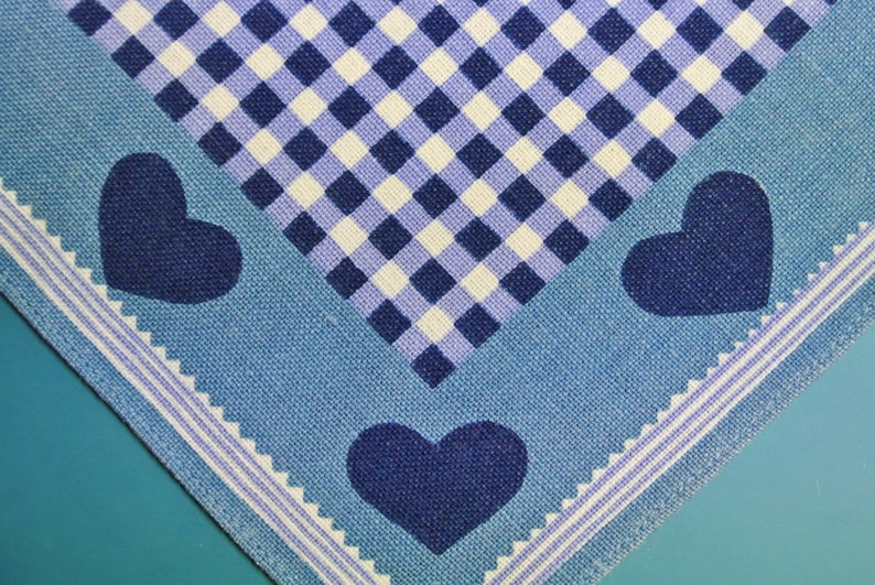 Swedish vintage 1970s printed cotton design tablet tabelcloth with heart checkered motive on light blue bottomcolor
