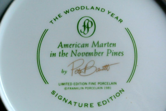 limited edition Lovely larger vintage porcelain plate with printed American The woodland year Martens motive after original by Per Bantto