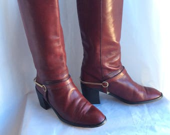 Gorgeous Oxblood Etienne Aigner high heel western style boots fresh from the 80s in ladies size 7 Stevie Nicks worthy