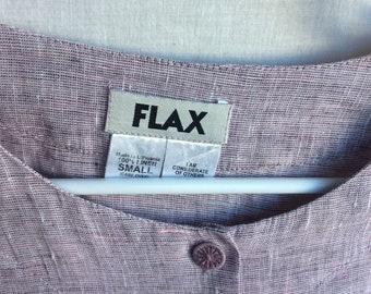 a8d0cb7865d Flax Linen two piece set pants jacket top tunic ensemble lilac retro size  small