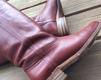 d61bf51051 True vintage Frye Oxblood boots 70s 80s maroon burgundy rare size 7 campus  boho