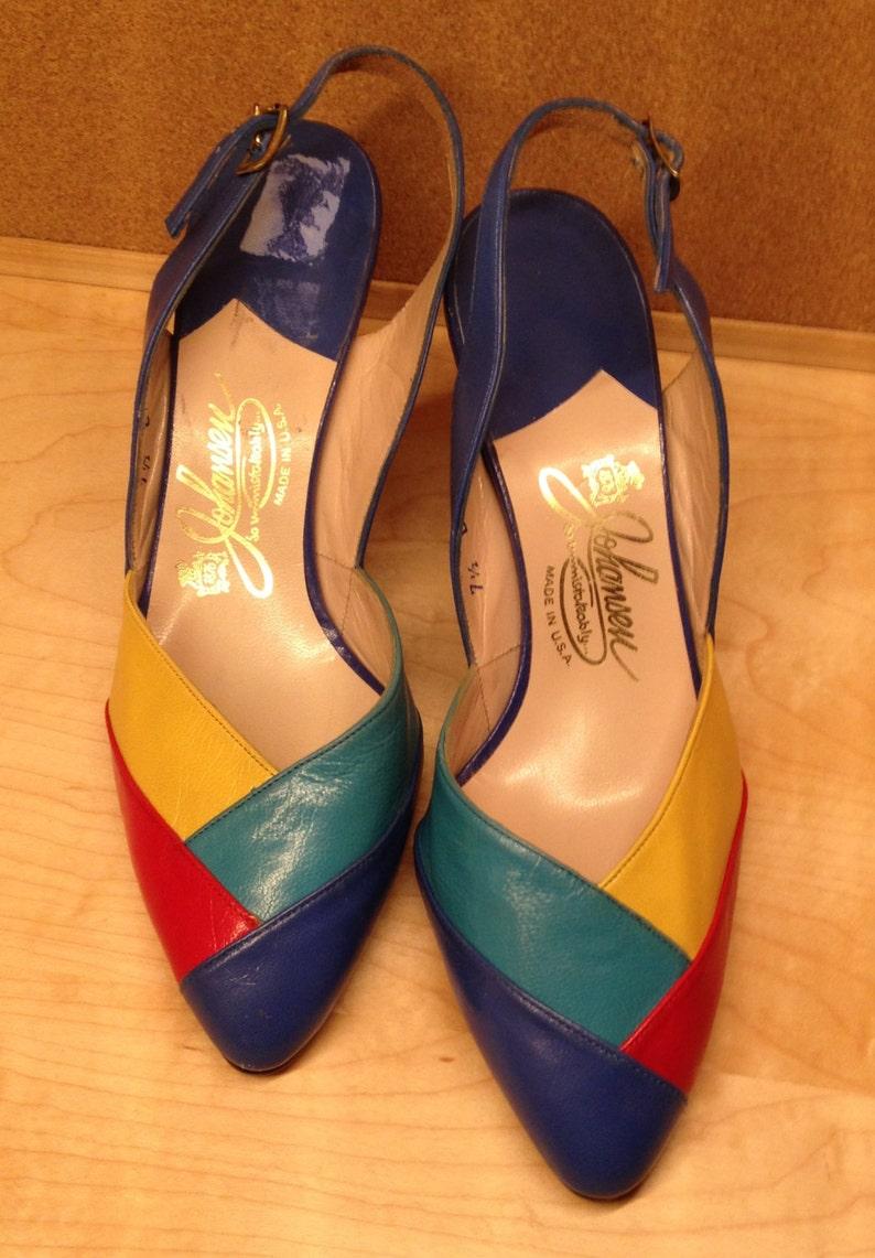 0597580e8c91f Color block pumps Johansen Leather shoes Multi Color Vintage Size 7.5 New  Old Stock