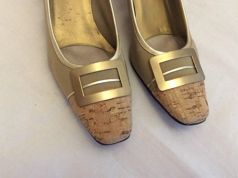 ee5f83bd1f0dd Funky vintage 80s 90s heels cork pumps chunky heel size 8.5 narrow Van Eli