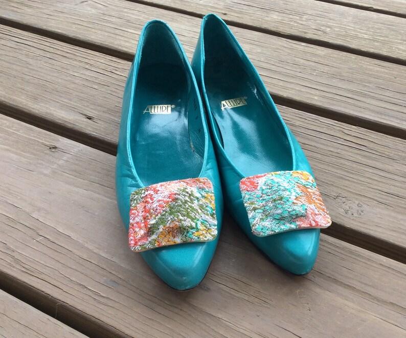 637508aabe65d Teal blue ballet flat shoes heels pumps vintage 80s 90s retro size 7 mod  funky