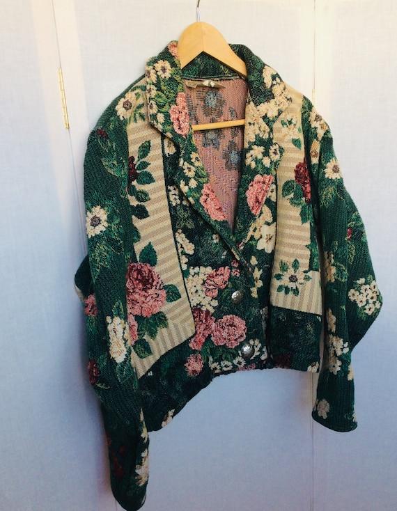 Vintage 80s floral western jacket bold colors retr