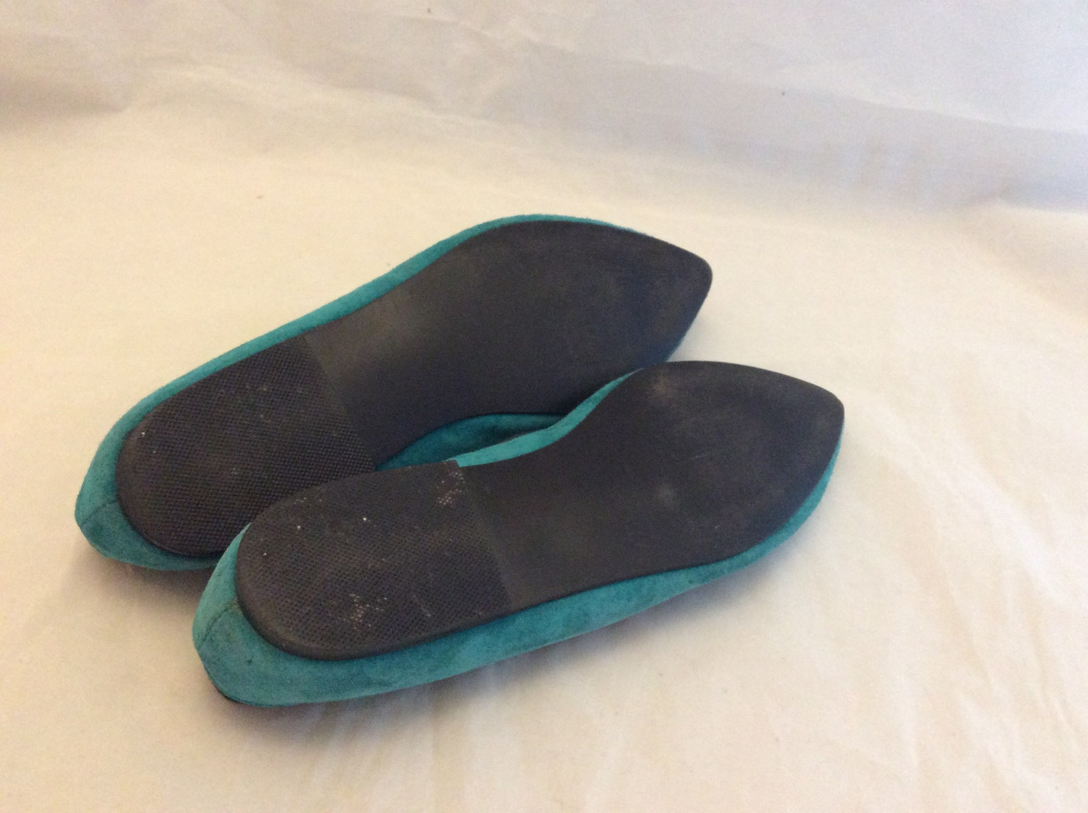funky cut leather blue flats 80s ballet pointy by wildcard teal size 9 punk ook rare