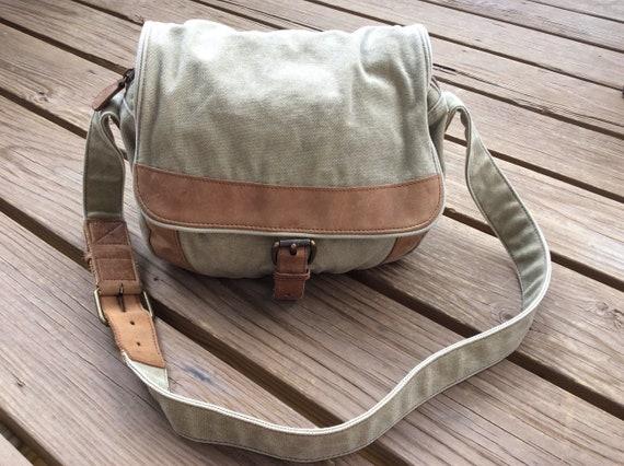Vintage LL Bean canvas bag travel satchel tote ret