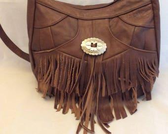 Hippie 70s Western cowboy southwest purse bag tote tan fringe fringes