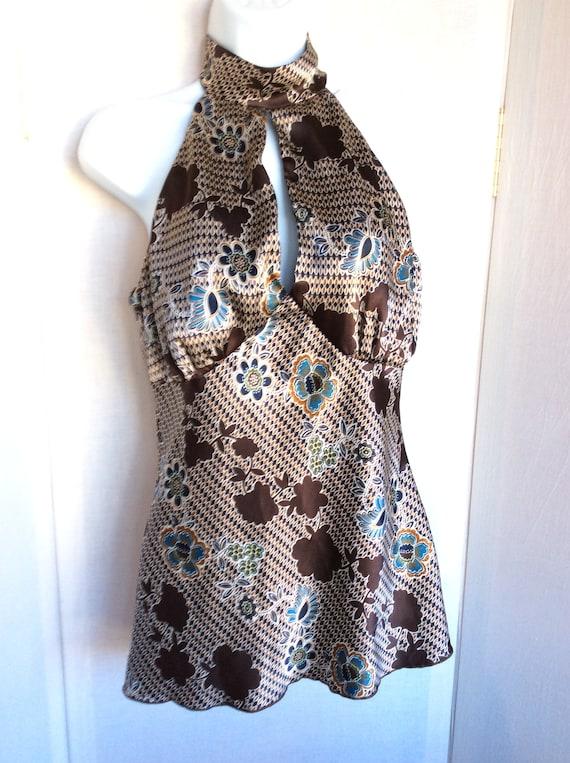Vintage halter blouse top summer 80s silky retro b